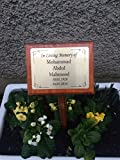 Solid Large Wooden Dark Memorial Stake Grave/Tree Marker Cremation with Personalised Plaque