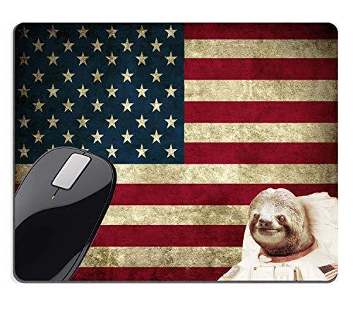 Muccum Rechteckiges Mauspad, groß, süßes Patriotisches Faultier Astronaut Retro alte amerikanische Flagge Vintage lustiges Design