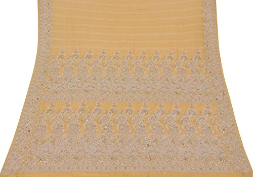Jahrgang Georgette Indian Peach Antike Saree Craft Gebrauchte Woven Dekor Ethnic Sari (Georgette Peach)