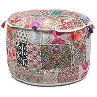 ganesham handicraft- Deko Bohemian osmanischen Patchwork osmanischen indischen bestickt indischen Vintage Baumwolle rund Pouf Fusshocker, handgefertigt Pouf, Boho Sitzgelegenheit Pouf, Vintage Ottoman