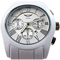 New Mens Watch White Strap White Analog Dial With Date Quartz