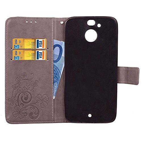 EKINHUI Case Cover Double Magnetic Back Sucktion Retro Style PU Leder Flip Stand Case mit Kickstand und Wallet Pouch Funktion für HTC Evo ( Color : Brown ) Gray