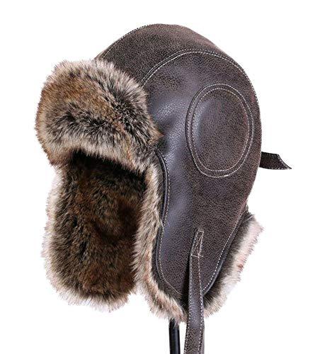 Insun Unisex Cappello da Aviatore Berretto Antivento Invernale Cappelli con Pelliccia Sintetica Marrone L (Circonferenza del Cappello:59-61cm)