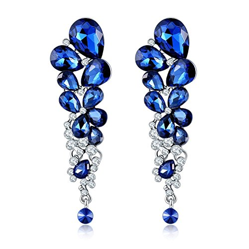 Kaizer Jewelry Blue Crystal Dangle & Drop Fancy Party Wear Special Valentine Collection Earring for Women & Girls.(Valentine Gift , Anniversary Gift , Birthday Gift).