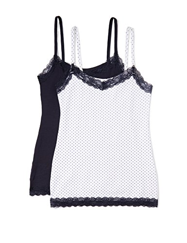 Iris & lilly canotta intima con pizzo donna, pacco da 2, multicolore (navy dot print with navy sky trim), large