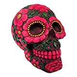 Nemesis Now Skull Sugar Crâne Sculpté Design Fleuri Coloré (Rose)