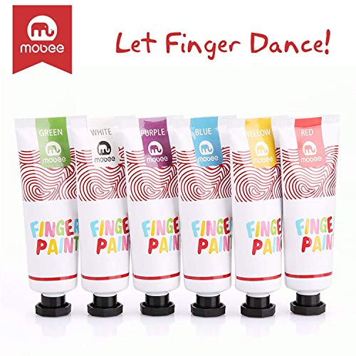 Mobee Fingerfarben Kinder Ungiftig, Waschbare Fingerfarbe für Kinder im Alter von 3-8 Jahr, Fingerfarben Kinder Set, 6 Farben, 6 Paper Pad, Baby Fingerfarben/Kinder Fingerfarben