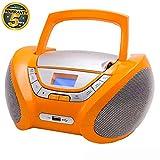 Lauson CP 447-Radio CD Portatile USB, Lettore CD Bambini, Stereo Radio FM, Boombox, CD, MP3 Player, AUX In, LCD-Display, Arancione