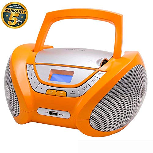 Lauson CP447 CD-Player mit Usb, Tragbares Stereo Radio, Kinder Radio, USB, CD/MP3 Player, (Orange)