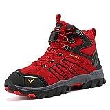 ASHION Wanderschuhe Winterschuhe Kinder Mid Schneestiefel Trekking Wanderstiefel Stiefel Jungen Baumwollschuhe(39 EU,6 Rot)
