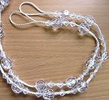 2 x Vorhang Zugbänder Raffhalter Weiß Klar Mit Perlen Besetzt