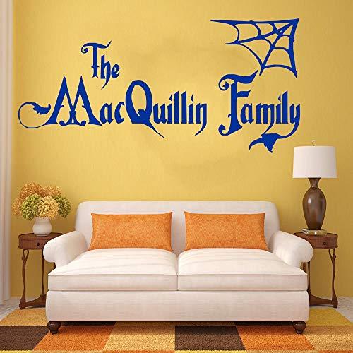 oween Familienname Addams Familie Vinyl Wandkunst Aufkleber Wandhauptwanddekor Wohnzimmer dekor A5 57X120 cm ()