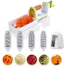 Cortador de verduras en espiral compacto Twinzee - 5 cuchillas fácilmente intercambiables - Espiralizador de verduras de fácil uso para cortar frutas y verduras en espiral, juliana, espaguetis, tallarines, cintas o fideos- Cepillo de limpieza incluido