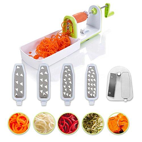 Spiraliseur de légumes 5 lames compacte Twinzee - 5 lames interchangeables rapidement - Découpe-légumes facile à utiliser pour transformer vos fruits et légumes en spirales, juliennes, spaghettis, nouilles, rubans ou vermicelles - Brosse de nettoyage incluse