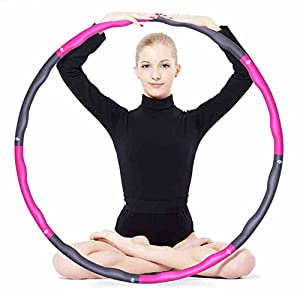 KXCFCYS Foam Fitness Exercise Hula Hoop, lose weight, make thin waist, fitness exercise, Aerobic exercise, 6/7/8 sections parts assembled Hula Hoop (Pink & Gray)
