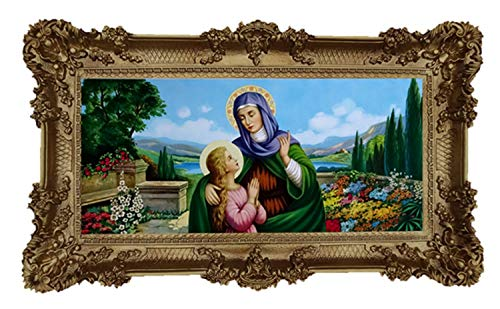 Mutter Maria Jungfrau Madonna Mutter Gottes heilige Maria Ikonen Bild 96x57cm Wunderschönes Repro Barock Antik Look gerahmtes Gemälde mit Ornamentverziehrungen in den Rahmen montiert Repro M16 (Gold)
