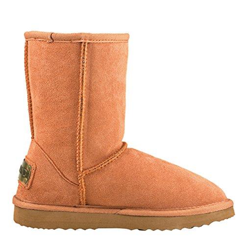 Shenduo Donna Slip Boots Metà Inverno Stivali In Pelle Scarpe Invernali Stivali Classici Da5825 Castagno