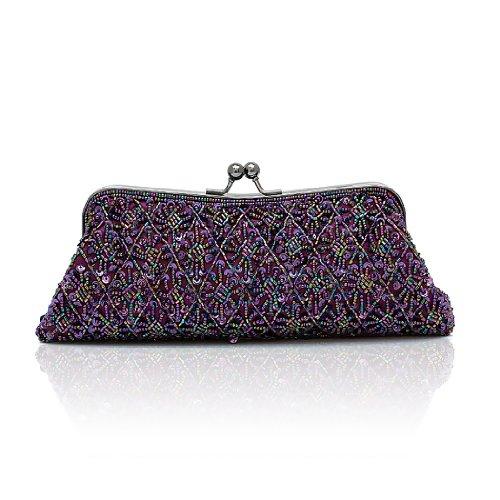 H:oter Frauen u. Mädchen Eleganz & Abschlussball-Partei-Abendhandtasche mit Kristall magischen Ring Griff, Handtasche, Geschenkideen - verschiedene Farben, Preis / Stück Lila