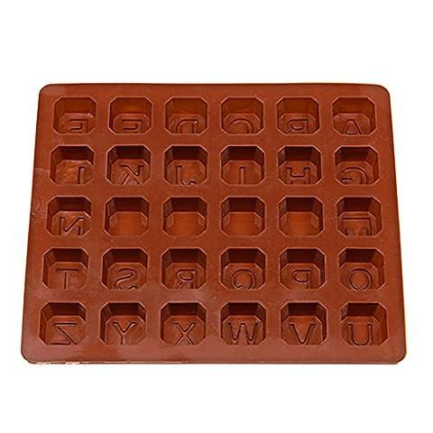 MagiDeal Moule en Silicone Alphabet 26 Lettres 3D pour DIY Bobon Chocolat Glaçons Savon