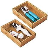 mDesign Juego de 2 separadores de cajones para la cocina - Organizadores para cajones modulares para cubertería y más - Cubertero de bambú para cajones de cocina - marrón...