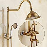 Liu Shower Set Antique Fixed Round Shower Head and Handheld Shower Head Wall Mounted Bathroom Rainfall Shower Set Tub Mixer Tap With Hand Sprayer Antique Brass, D