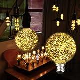 LED Edison Glühbirne, KINGSO G95 Globe Vintage Deko Glühlampe 3W Dekorative Leuchtmittel Lichterkette Lampe (E27, 85-265V) Ideal für Nostalgie und Retro Beleuchtung Warmweiß