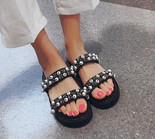 GLTER Sandali piatti slip-on in pelle con strass Word pantofole femminile Pearl Flip Flop Rivet scarpe aperte indietro pantofole nere Black