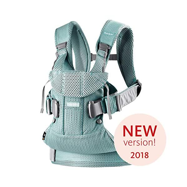 BABYBJÖRN Baby Carrier One Air, 3D Mesh, Frosted Green, 2018 Edition Baby Bjorn The latest version (2018) with soft and breathable mesh that dries quickly Ergonomic baby carrier with excellent support 4 carrying positions: facing in (two height positions), facing out or on your back 1