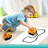 Enlarge toy image: Magic Pen Car Follow Trail Inductive Car Tank Vehicle Toy For Kids Above Age 3(Yellow Crane)