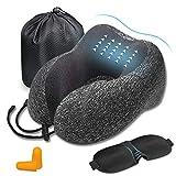 DA HENG Almohada de Viaje, Avión Almohada Cervical   Almohada Ortopédica Cervical   Cojin Travel Pillow Reposa Cabezas, Kit para Dormir, estándar para avión y hogar (Gray)