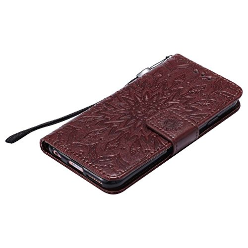 Custodia iPhone 6 / 6S, cmdkd Wallet Custodia Bumper per iPhone 6 / 6S. (Porpora) Marrone