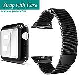 DoZoO para Correa Apple Watch 42mm, Milanese Reemplazo Banda de Sport Pulsera para iWatch Series 3 / Series 2 / Series 1 + [ Protector de Pantalla Completo Funda ]