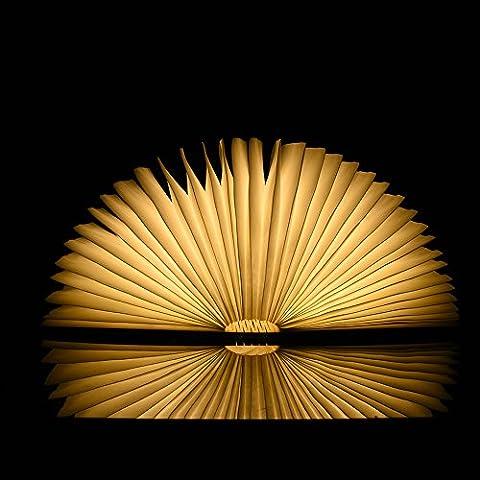 Samber Holz Faltbare LED-Nachtlicht Book LED-Licht und LED faltbar Buch Lampe, Kunst, Dekoleuchte, Schreibtisch/Wand magnetisch Lampe - Warmweiß