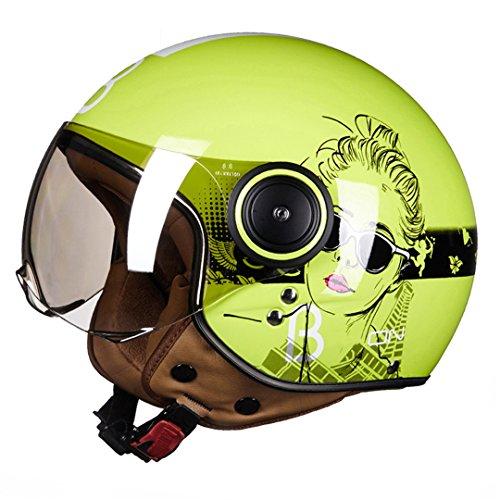 Vintage Motorrad Helme Jet Ruby Helm Schutz Gears 3/4 Halb Helm Roller ECE Dot Offenes Gesicht Capacete 14 L (Vintage Motorrad-zahnrad)