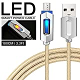 Pawaca Intelligentes USB-Ladekabel, 1M/3.2FT Micr Nylon Geflochten Syn Auto-Trennung Ladegerät Kabel mit LED-Anzeige für MacBook, Google Pixel, Nexus, Samsung Galaxy(Gelb)