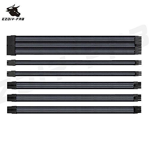 EasyDiy Cable con manguito - Extensión de cable para power supply con mangas extra 24 PIN 8PIN 6PIN 4+4 PIN With COMBS-Negro/Gris