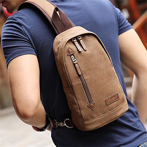 DELLT-Männer koreanische Version des Messenger-Tasche lässig Leinwand Umhängetasche Mode kleine Tasche Rucksack M Khaki