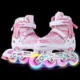 WeSkate Für Kinder / Erwachsene Acht Beleuchtungsräder Atmungsaktives Mesh Inline Skates Aluminium Rahmen Einstellbare Größen Rollschuhe für drei Größen 31-34 / 35-38 / 39-42 (Rosa, 39-42)