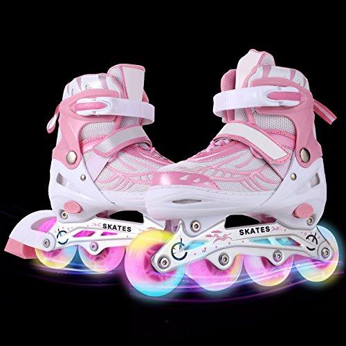WeSkate Kinder/Erwachsene Acht Beleuchtungsräder Atmungsaktives Mesh Inline Skates Aluminium Rahmen Einstellbare Größen Rollschuhe für drei Größen 31-34/35-38/39-42 (Rosa, 31-34)