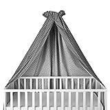Sugarapple Himmel für Babybetten, Kinderbetten quer verwendbar, grau mit weißen Sternen, 100% Öko-Tex Baumwolle, 280x170 cm