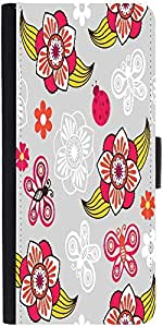 Snoogg Spring Seamless Pattern With Flowers And Ladybirds Designer Protective Phone Flip Case Cover For Lenovo A6000