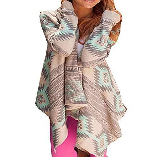 Damen Cardigan Langshirt Langarm Beiläufige Flauschig Locker Geometrische Loose Lrregular Pullover Mantel Festlich Outwear Tops Strickjacke Kimono Ethno-Style Outdoor (L, Grün) (Schulterzucken Baumwolle)