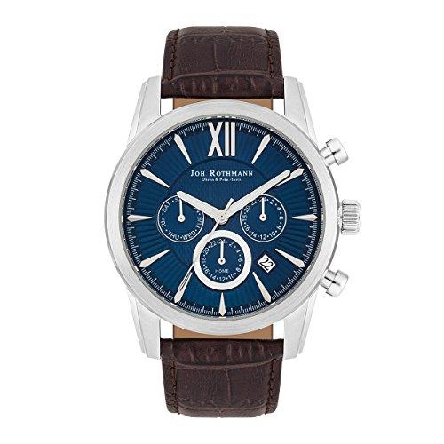 Joh. Rothmann Halvor men's watch, multifunction, 100301455atm, silver/blue, leather strap in brown