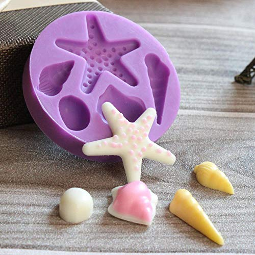 Loving bird DIY Starfish Shell Chocolate Silicone Moulds Fondant Silicone Candy Cake molds e129 -