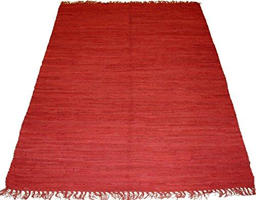 ORNAMENT Kelim HandwebTeppich 170 x 120 cm aus Indien UNI Farbe Rot Red 100{8f9eea2db2bef9c9cd56942606a62351b0b972de2270b5e55d10aebfcb340e99} Baumwolle Handgewebt Beidseitig nutzbar 2000g/m Baumwolle