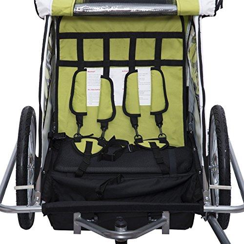 homcom 440-001GN 2 in 1 Fahrradanhänger Jogger 360° Drehbar für Kinder, grün / schwarz - 3