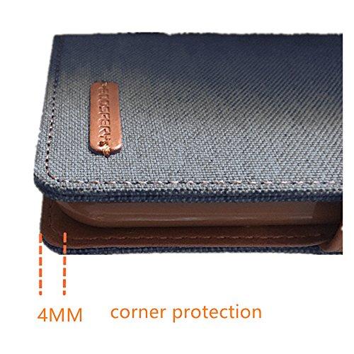LG V10 Hülle Leinwand Umhängetasche REXANG Geschenk [Brieftasche und Kartenfächer] [Bookstyle Buch] [mit Stand Funktion] [Woven + Leder (PU) + TPU] (LG V10, Grau) - 4