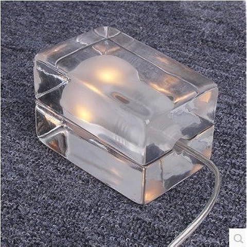 Cubo de hielo de cristal transparente cristal Funda Accent Barra de escritorio mesa lámpara brilla con esmerilado interior luz bombilla para bares Salones Spa Relax Chill Out