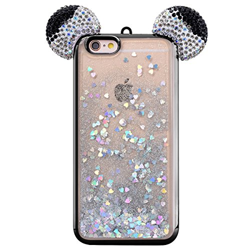GrandEver iPhone 6S Glitzer Hülle iPhone 6 Weiche Silikon Handyhülle Diamant Maus Ohren Gel Bling Electroplate TPU Bumper Liquid Fließen Flüssigkeit Schutzhülle für iPhone 6/iPhone 6S(4.7 Zoll) Rücksc Grau