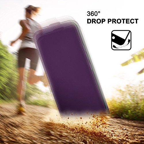 iPhone 6S Hülle Schwarz [OneFlow 360° Klapp-Hülle] Etui thin Handytasche Dünn Handyhülle für iPhone 6/6S Case Flip Cover Schutzhülle Kunst-Leder Tasche INDIGO-VIOLET